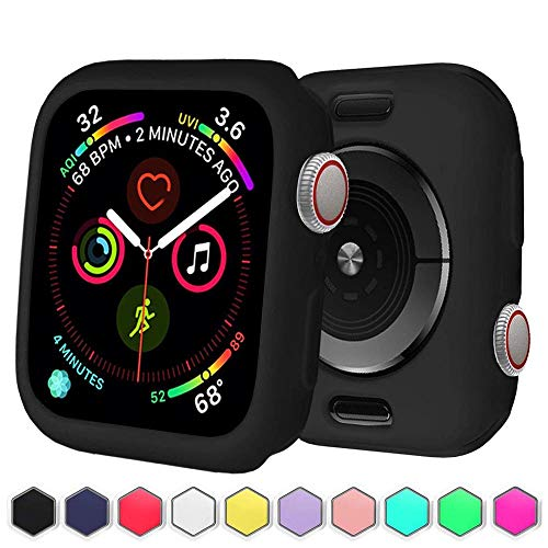 BOTOMALL for IWatch Case 38mm 42mm 40mm 44mm Premium Soft Flexible TPU Thin Lightweight Protective Bumper Cover Protector for Smartwatch Series 5 4 Series 3 2(Black,44MM Series 4/5)