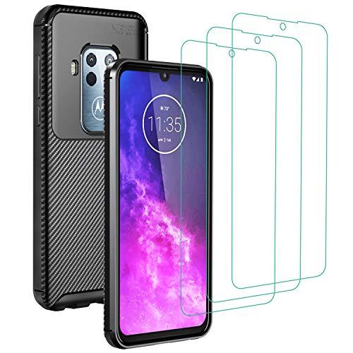 ivoler Funda para Motorola Moto One Zoom + 3 Unidades Cristal Templado, Fibra de Carbono Negro TPU Suave de Silicona [Carcasa + Vidrio Templado] Ultra Fina Caso y Protector de Pantalla