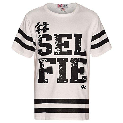 A2Z 4 Kids Mädchen Top Kinder Designer #Selfie Drucken Modisch Trendy T Shirt Top Neu 122 128 134 140 11 12 13 Jahre - Weiß, 13 Years