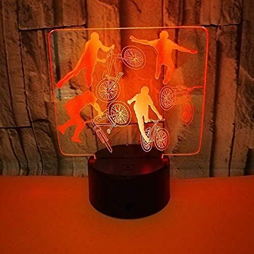 3Dluz Nocturna Luz De Noche 3D Lámpara De Ilusión Óptica Led Acrobacia De Bicicleta 7 Colores Con Control Remoto Cambio Para Niños Novedad Regalo De Cumpleaños Dormitorio Para Niños Cambio De Color De