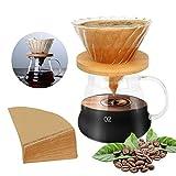 Bestcool Pour Coffee Maker, cafetera manual de 500 ml con gotero para café, servidor de cocina con mango y filtro de vidrio, jarra de vidrio de borosilicato, papel de filtro gratis