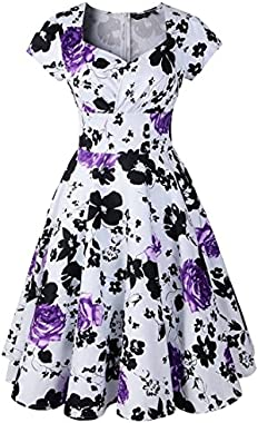 Oyza9pe Women's 1940s Sleeveless Flared Swing Skaters Long Dress Ball Gown