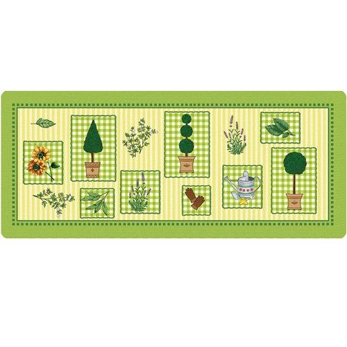 Küchenläufer 180x50 cm grüner Garten Fußmatte Küchenteppich