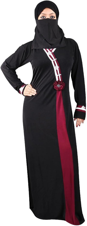 Maroon Flow Side Applique burqa