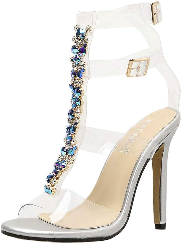 SOMESUN Women's Sexy Heeled Sandals Girl Summer Fashion Bohemia Diamond Thin High Heels Casual shoes