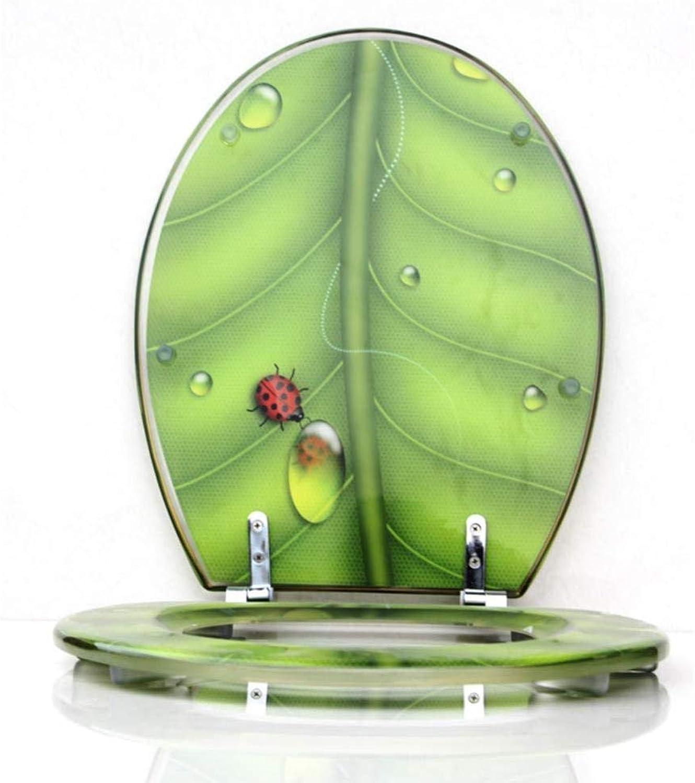 YYUE Toilettensitz,3D Leaves Slow-Close Toilettensitz Mit Deckel Resin Heavy Duty Toilettendeckel Quick-Release Scharniere Toilettensitz,F