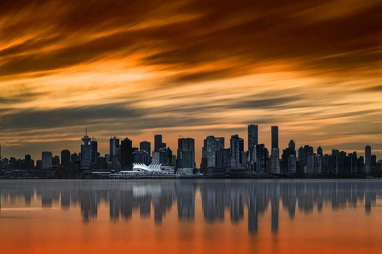 インタフェース有名な恐怖症芸術品ズック製印刷ポスター、内装用品壁のデコレーションポスター(都市、日没、高層ビル、川、バンクーバー、カナダ)33x50cm