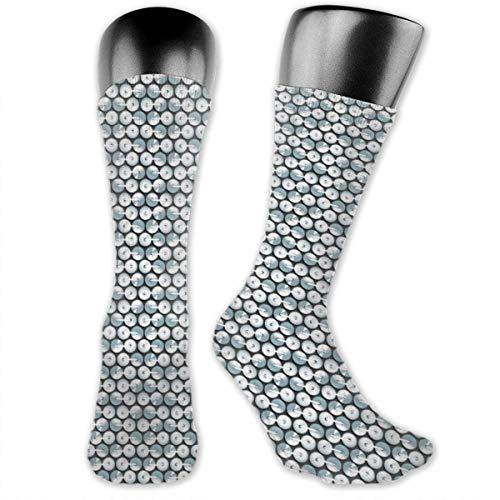 Wfispiy Silber glänzende Pailletten mit Nähten Oberschenkel hohe lange Socken Beinstrumpf Winter wärmer