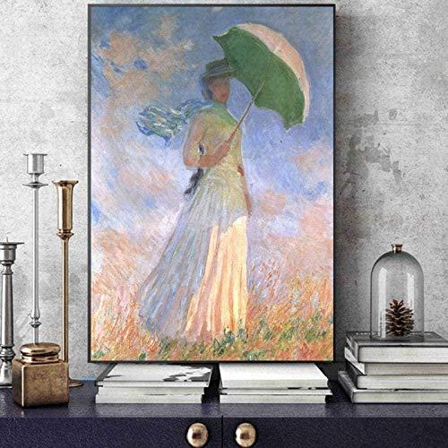 DGSJH Holzpuzzle Monet Puzzle Puzzleh 1000 Stück Impressionist Ölgemälde Frau mit einem Sonnenschirm Erwachsene Puzzle Kind Teenager Spielzeug