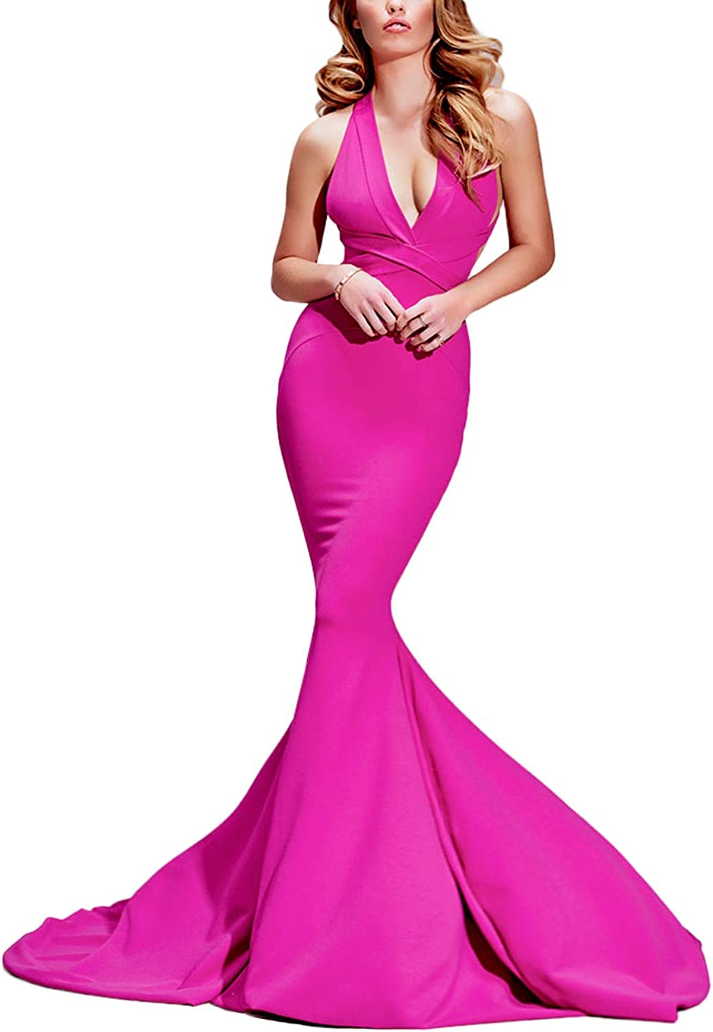 Yisha Bello Women's Sexy VNeck Mermaid Pro Dress Long Backless Evening Party Gowns