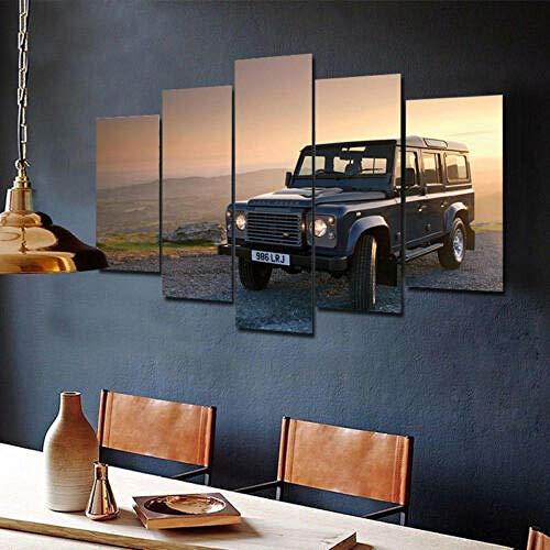 Yywife Leinwanddrucke Kreatives Geschenk 5 Stück Leinwand Bilder Hd Drucke Poster Abstrakt Gerahmter Land Rover Defender Moderne Wandbilder XXL Wohnzimmer Wohnkultur