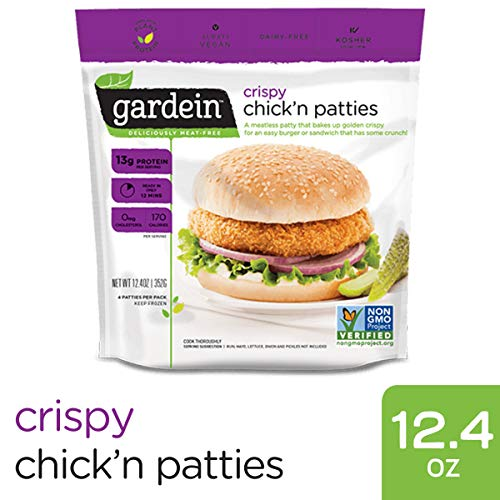 Gardein Meatless Crispy Chick'n Patties, Protein Packed Patties, 4 Count (Frozen)