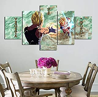 AIXYX 5 Pieces Cartoon Dragon Ball Z Goku Vs Vegeta Modern Home Wall Decor Canvas Picture Art HD Print Painting On Canvas Artworks-A