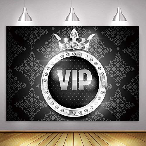 MME Fantasy Silver VIP Crown Backdrop Sweet 16 Birthday Party Photography Background Props Vinyl Photography Video Backdrop (7x5 ft)