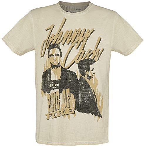 Johnny Cash Ring of Fire Uomo T-Shirt Sabbia L 100% Cotone Regular
