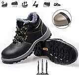 qmj Zapato De Seguridad Comodo ESD S3 Calzado Seguridad Hombres Bota De Seguridad Transpirable, Aislado, Antideslizante, Resistente Al Desgaste,Black-EU38