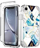 SPEVERT Designed Case for iPhone XR Case with Built-in Screen Protector Marble Pattern Shock Absorption Stylish Full-Body Bumper Case Cover for iPhone XR - Geometry
