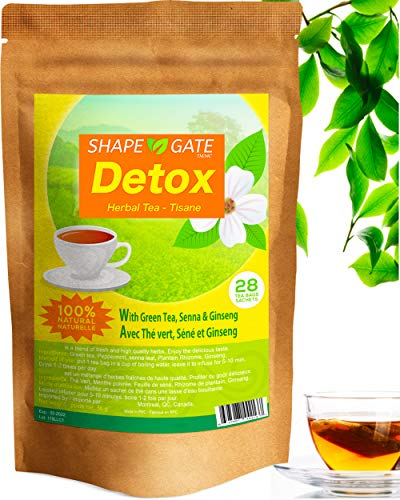 ShapeGate Skinny Detox Tea (28 Days) - Targets Belly Fat + Weight Loss - Colon Cleanse - Constipation & Bloating relief - Laxative effect - Slim & Diet Tea - Green Tea + Senna + Ginseng