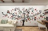 Alicemall Sticker Mural Arbre Photo Stickers Salon Décoration de Maison Autocollant Mural (Pattern 2(Branches noires et feuilles rouges))