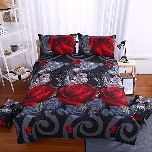 3D Rose Bettbezug Set, 4 Stück Super Weiche und Angenehme Mikrofaser Einfache Bettwäsche Set Gemütlich Enthalten 1 Bettbezug 1Bettlaken & 2 Kissenbezug Betten Schlafzimmer (Stil 08, 200 x 220 cm)