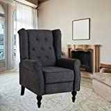 BINGTOO Wingback Recliner Chair- Accent Chairs for Living Room- Tufted Fabric Push Back Recliner Chair with Footrest and Nailhead Trim, Wooden Legs (Gray)