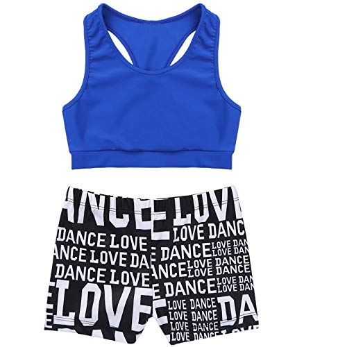 KKmeter Kids Girls Two Pieces Dance Outfit Crop Top with Shorts Clothing Sets for Athletic Sport Gymnastic Dancing Swimming (Blue & Black, 7-8)