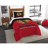 B62830000 570B6783000001 EN 2 Piece Hockey League Blackhawks Comforter Twin Set, Sports Patterned Bedding, Team Logo Fan Merchandise Athletic Team Spirit, Red Black Gold White, Polyester Unisex