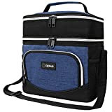 OPUX Insulated Dual Compartment Lunch Box Men Women | Leakproof Double Deck Lunch Bag Work Office School | Soft Cooler Tote Shoulder Strap Adult Kid | Reusable Thermal Lunch Pail Kit 12 Can, Navy Blue