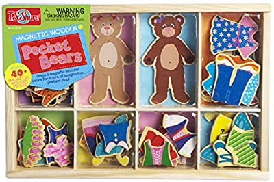 Bendon Pocket Bears 2 Wooden with 40 Magnetic Dress Up Pieces TS Shure 50446, Multicolor from Bendon