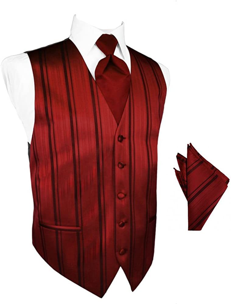 Apple Striped Satin Tuxedo Vest with Long Tie and Pocket Square Set