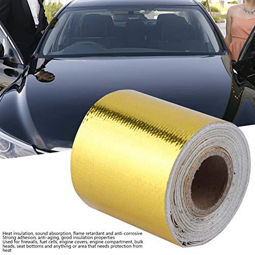Envoltura de protección térmica, 5 m * 5 cm Cinta de protección de aislamiento térmico reflectante para automóvil Cinta protectora de calor para tubería de escape de tubo de motor de automóvil