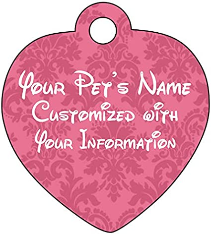 Disney Font Dog Tag Cat Tag Pet Id Personalized w//Name /& Number Colorful Heart