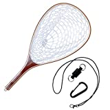 NetAngler Fishing Net, Fly Fishing Net with Magnetic Release, Fish Landing Net with Wooden Frame and Soft Rubber Mesh for Trout Fishing Catch and Release