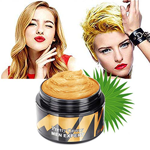 Temporary Hair Color Wax - Gold Yellow Temporary Hair Dye Instant Natural Matte Hairstyle Cream coloring for Men Women Kids Party Cosplay Date Halloween (Gold)