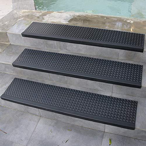 Rubber-Cal 10-104-014-6pk Diamond-Plate 10' x 36'-6 Pack Commercial Step Mats, Black