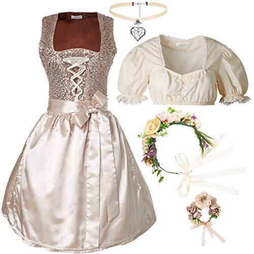 dressforfun 950012 Damen Trachtenset, 5-teilig, Glitzerndes Dirndl + beige Trachtenbluse mit Halskette, Armschmuck und Blumenkranz - Diverse Größen (Dirndl XL | Bluse XL | Nr. 350150)