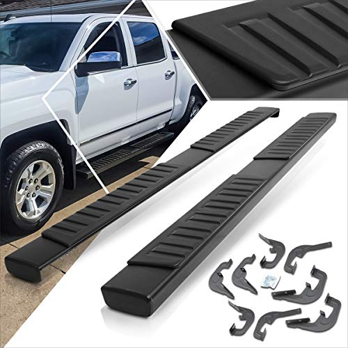 6 Inches Black Running Board Side Step Nerf Bar Compatible with Chevy Silverado/GMC Sierra Crew Cab 07-19
