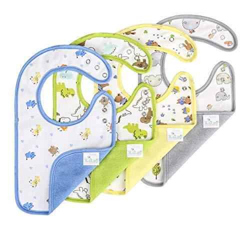 KāLaÿ 3-Layers Waterproof Baby Bib, Reversible, 3-Adjustable Snaps, Large, 4 Pack (Animal)