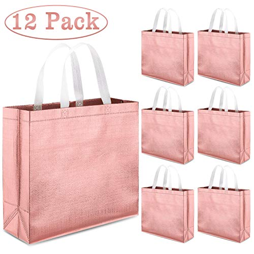 Whaline Set of 12 Glossy Reusable Grocery Bag, Tote Bag with Handle(Rose Gold)