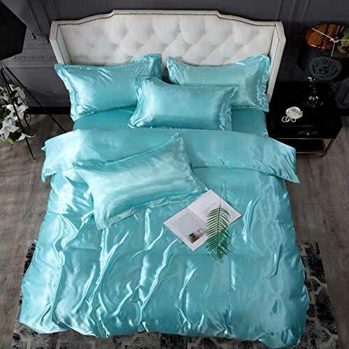 Bedding-LZ -Verano Hielo Seda Cama de Cuatro Piezas Solo Hielo Fresco Seda simulación de Seda Estudiante Dormitorio Familia Hotel-B_Cama de 2.0m (4 Piezas)