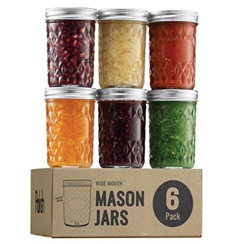 Regular Mouth Glass Mason Jars, 8 Ounce (6 Pack) Glass Canning Jars with Silver Metal Airtight Lids and Bands with Chalkboard Labels, for Canning, Preserving, Meal Prep, Overnight Oats, Jam, Jelly,