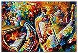 HGUT Lienzo decorativo para pared, diseño abstracto de botella de jazz, músico, Leonid Afremov, lienzo para salón, decoración moderna para el hogar, sin marco (70 x 120 cm)