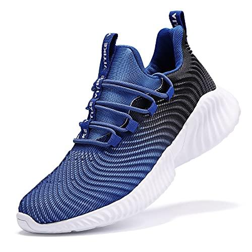 shanglutong Turnschuhe Jungen Sportschuhe Kinder Schuhe Mädchen Sneaker Hallenschuhe Atmungsaktiv Leichte Laufschuhe Straßenlaufschuhe für Unisex-Kinder Blau Gr 36