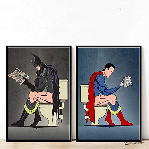ZYHBB Impression sur Toile Salle De Bains Peinture À l'huile Moderne Batman Bande Dessinée Super-Héros Toilette Affiche Imprime Art Mur...