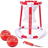 GoSports Splash Hoop 360 Floating Pool Basketball Game | Includes Water Basketball Hoop, 2 Balls and Pump (Renewed)