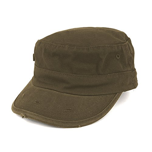 Washed Cotton Army BDU Style Fitted Military Cap - Olive - L-XL