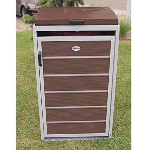 Prewood WPC Mülltonnenbox, Mülltonnenverkleidung für 1x 240l Mülltonne braun // 86x76x127 cm (LxBxH) // Gerätebox, Gartenbox & Mülltonneneinhausung