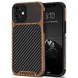 TENDLIN Kompatibel mit iPhone 12 Hülle/iPhone 12 Pro Hülle Holz & Carbon Textur Design Leder Hybrid Handyhülle (Schwarz)