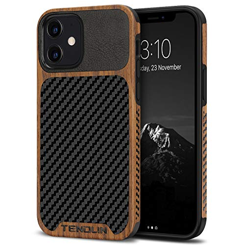 TENDLIN Compatible with iPhone 12 Case/iPhone 12 Pro Case Wood Grain with Carbon Fiber Texture Design Leather Hybrid Case