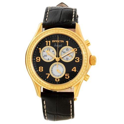 Invicta Lupah Quartz Chronograph Black Dial Gold Brown Leather Watch